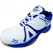 Port Men's Flying White Blue PU Badminton Shoes
