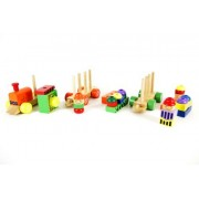 Wooden Block Train Puzzle Set with Colorful Stacking Blocks