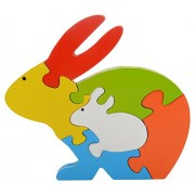 Skillofun Wooden Take Apart Puzzle Rabbit, Multi Color