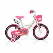 Bicicleta pentru fetite cu roti ajutatoare si cosulet 16 inch Little Monster Pink