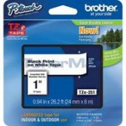 TZ Tape BROTHER 24mm Black on White, Laminated, 8m lenght, for P-Touch