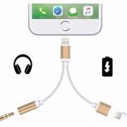 Cable Adaptador Lightning 2 En 1 Jack 3.5 Para Iphone 7 8 X