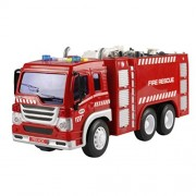 E-SCENERY Fire Engine Engineering Vehicles Toy Construction Vehicles With Light and Music, Inertia Toy Trucks Simulation Model Car Toys Gift for Kids Boys and Girls (2#)