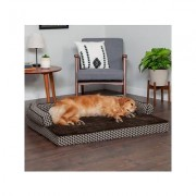 FurHaven Comfy Couch Cooling Gel Cat & Dog Bed w/Removable Cover, Diamond Brown, Jumbo