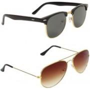 Royalmede Clubmaster, Aviator Sunglasses(Black, Brown)