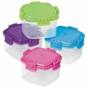 Set 4 cutii alimente plastic Knick Knack To Go diverse culori 62 ml