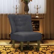 vidaXL Cadeira francesa tecido cinzento