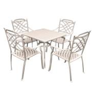 Set mobiler gradina/terasa, masa si 4 scaune, aluminiu, culoare alba, Masa 90x90cm, Knusna, MN0195308, Hascevher