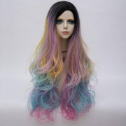 rosegal Long Side Parting Layered Shaggy Wavy Colormix Synthetic Party Wig