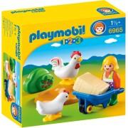 PLAYMOBIL - 1.2.3 FERMIERA CU GAINI (PM6965)