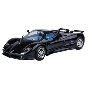 Motormax 1:18 Pagani Zonda C12 Diecast Car Mounted On A Plastic Stand and with the Name Lable (Black)