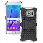 Armor estilo TPU de proteccion trasera caso con soporte para Samsung Galaxy S7 borde - blanco + negro
