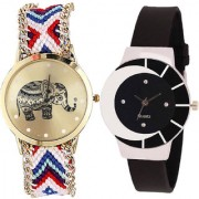 Neutron New Analogue Elephant Analogue Multi Color And Black Color Girls And Women Watch - G159-G8 (Combo Of 2 )