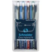 Schneider Pióro kulkowe Schneider ONE Hybrid N 0,3 mm, w etui 4 szt., miks kolorów