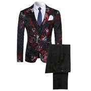 Men's 3-piece Suit Notched Lapel Floral One Button Modern Blazer Vest Pants Sets