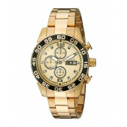 Invicta Watches Invicta Men's 1016 II Collection Chronograph Gold Dial 18k Gold-Plated Stainless Steel Watch GoldGold