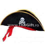 Palarie de pirat, cu banda rosie si emblema