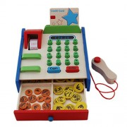 Wooden Cash Register With Dummy Checkout Scanner - 1c373 - Cashier Play Toy Set with Credit Card Reader and Play Money