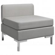 vidaXL Модулен среден диван с възглавница, текстил, светлосив