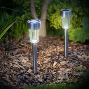 2 db napelemes LED acél lámpa világítás 18,5 cm