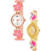Varni Retail Pink Flower Belt And Gold Oval Rectangle Dial Chai 2 Cmb Watch Girls