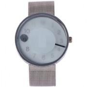 Paidu White Dial Sliver Net Mesh Strap Quartz Watch Fashion Round Face Wrist Unisex Watch by ThreeStar