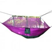 Aotu AT6730 2-persona paracaidas tela de nylon de la hamaca - purpura + Verde