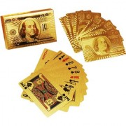 S4D 24 K Gold Plated Poker Playing Cards (Golden)