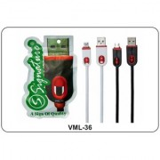 Signature VML-36 2.0 Amp Micro Usb Fast Charging cable and data transfer cable - Multicolor (White/Black)