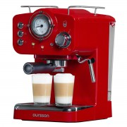 Espressor manual Oursson EM1500/RD, 900 W, 15 bar, 1.25 L, Rosu