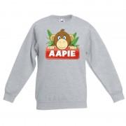Bellatio Decorations Sweater grijs voor kinderen met Aapie het aapje 14-15 jaar (170/176) - Sweaters kinderen