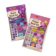 Melissa & Doug Decorate Your Own Wooden Bead Jewelry Making Kit Includes Hearts/Flowers (2 Pack)