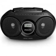 Philips CD радиокасетофон, FM/MW стерео тунер, 2 x 1 W RMS, черен, захранване от мрежата или батерии/AZ215B