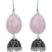 Rose Quartz Crystal German Silver Oxidized Artificial Jewellery Jhumka Earring Set For Women And Girls