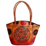 Circles Design Ethnic Hand Embossed Shantiniketan Leather Indian Shoulder Bag