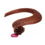 Asijské vlasy na metodu keratin odstín 33 po 20 ks Délka: 46 cm, Hmotnost: 0,5 g/pramínek, REMY kvalita