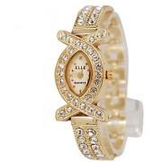 Elle Oval Dial Golden Metal Strap Womens Watch