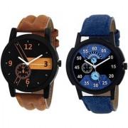 Katrodiya Round Dail Blue And Brown And Khaki Leather StrapMens Quartz Watch For Men