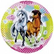 Farfurii petrecere 18 cm charming horses, amscan rm552342, set 8 buc