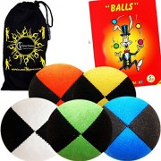 Flames 'N Games Pro Suede Juggle Balls - Juggling Set of 5 + Ball Book Tricks & Travel Bag!