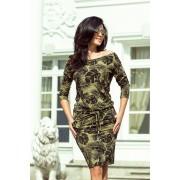 numoco Dámské sportovní šaty v barvě khaki se vzorem kulatých listů model 6342256 XS