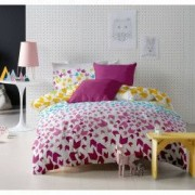 Lenjerie de pat Dormisete bumbac 100 Loving Matisse Rose pentru pat 2 persoane 4 piese 180x215 / 50x70 cearceaf pat uni roz Fuchsia