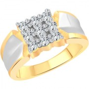 Vighnaharta Boss Nine Stone CZ Gold and Rhodium Plated Alloy Gents Ring for Men & Boys