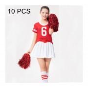 10 Pcs Square Bailoterapia Cheerleading Pelota Mano Flower Bouquet, Longitud De Cinta: 30cm (rojo)