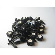 LEGO City Complete Wheel Assembly Lot, 20 Black Axles, 40 Black Rubber Tires, 40 White Wheels