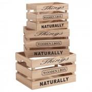 IDIMEX Lot de 3 cagettes en bois CHENOA, bois naturel
