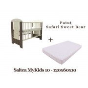 Patut copii Klups Safari Sweet Bear + Saltea MyKids 10