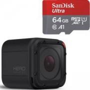 Спортна камера GoPro HERO Session, 1080р60, 8 MP, Черна + Карта памет SANDISK Ultra micro SDXC 64GB UHS-I