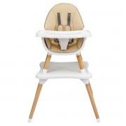 Costway Chaise Haute Bébé 4 en 1 Plateau Réglable en 4 Etapes pour Bébé 6 Mois-3 Ans Charge 15KG Kaki