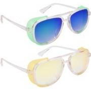 NuVew Wayfarer, Shield Sunglasses(Green, Blue, Yellow, Violet)
